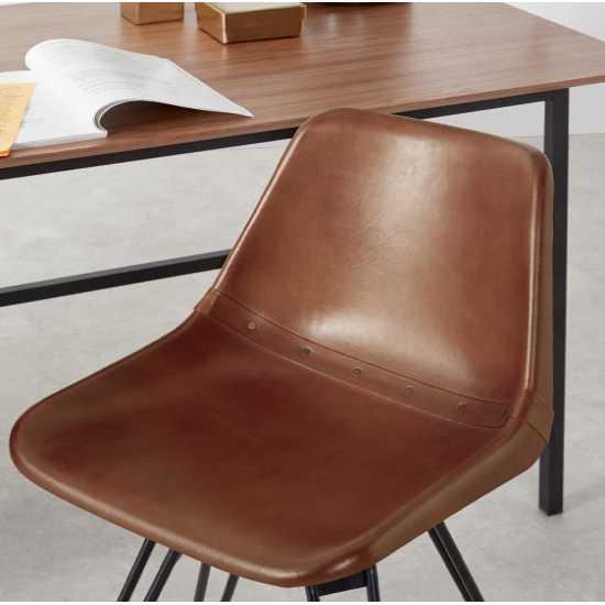 Chaise de bureau vintage en cuir