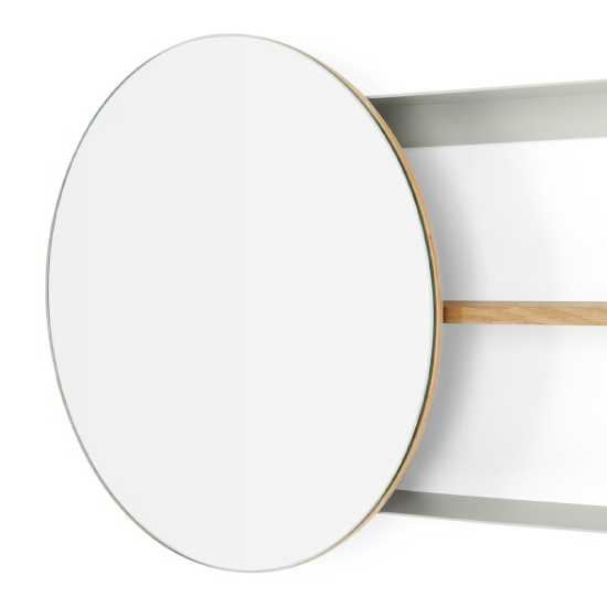 Miroir rond avec étagère