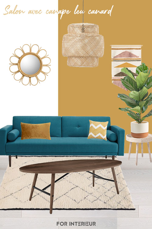 salon avec canapé bleu canard