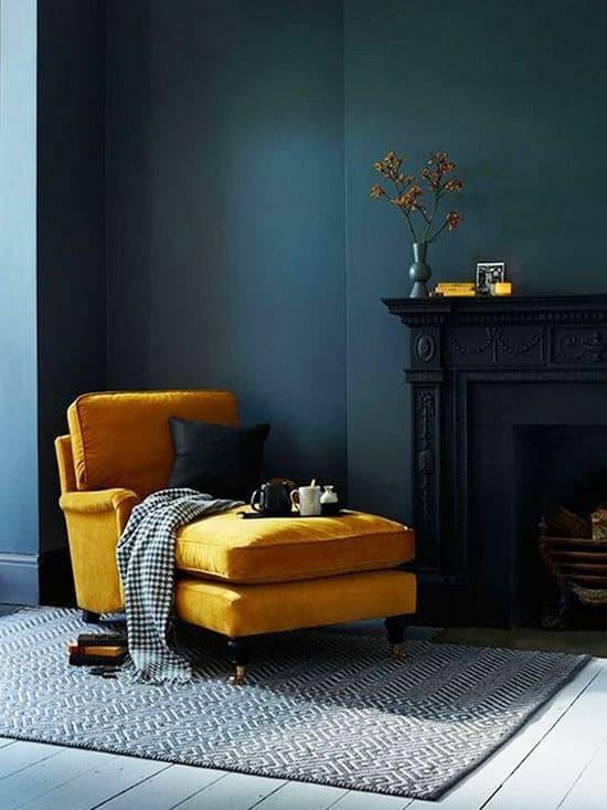 jaune moutarde et bleu canard