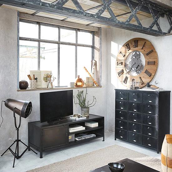horloge industrielle bois et métal