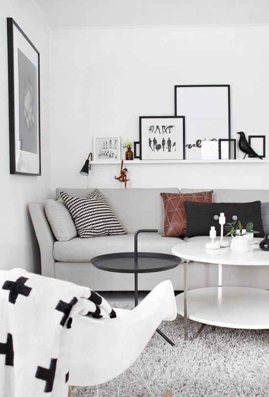 Déco salon gris et blanc cocooning