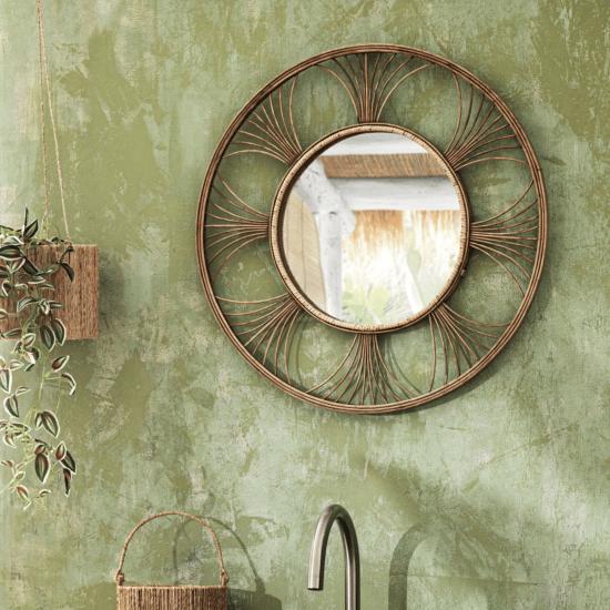 Miroir rond en rotin tressé MARANG catalogue Maisons du Monde