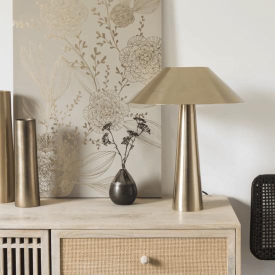 Lampe en métal doré KYOTO catalogue Maisons du Monde