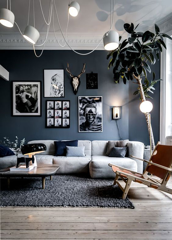 Salon scandinave bleu