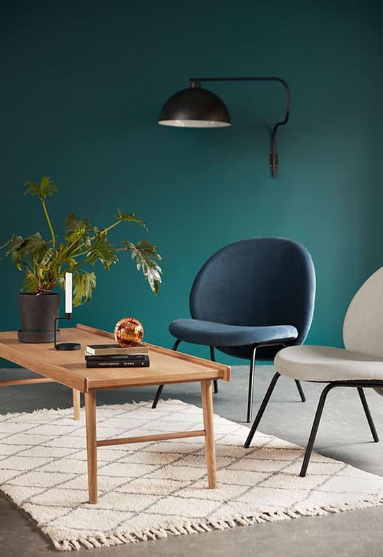 salon scandinave couleur bleu canard