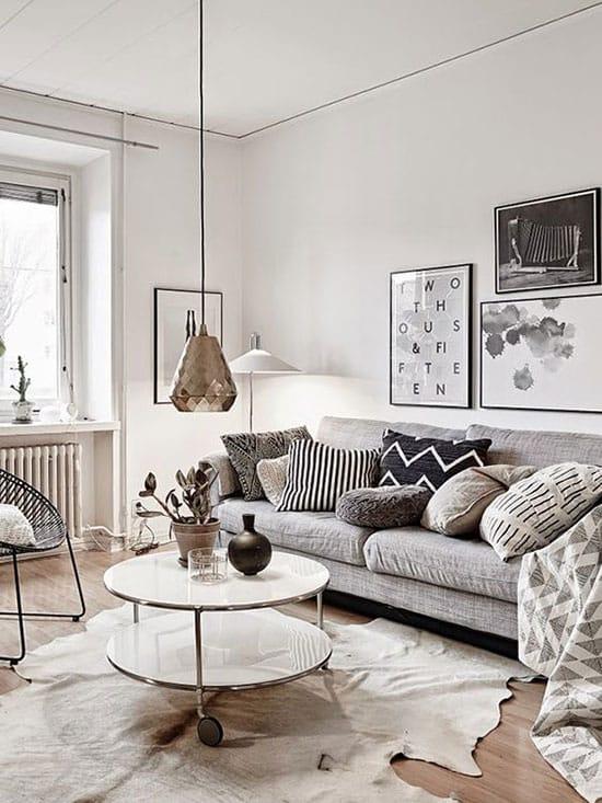 Salon scandinave gris et blanc