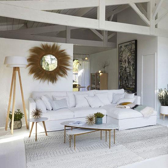 Table basse en marbre blanc rectangulaire