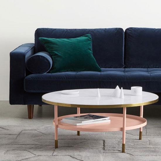 Table basse en laiton et marbre