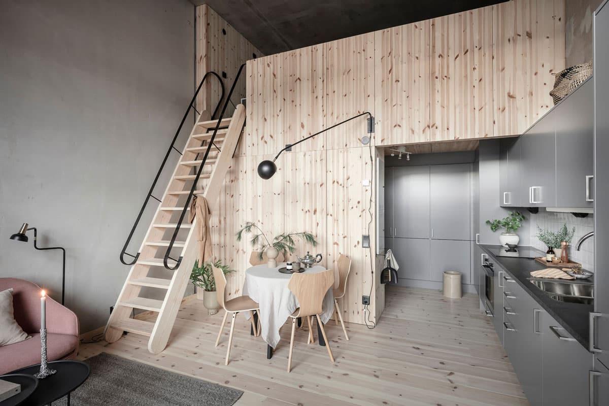Chambre parentale cocooning aménagée dans la hauteur sous plafond