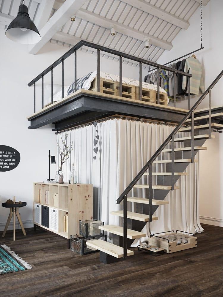 Mezzanine au style industriel avec rambarde en métal