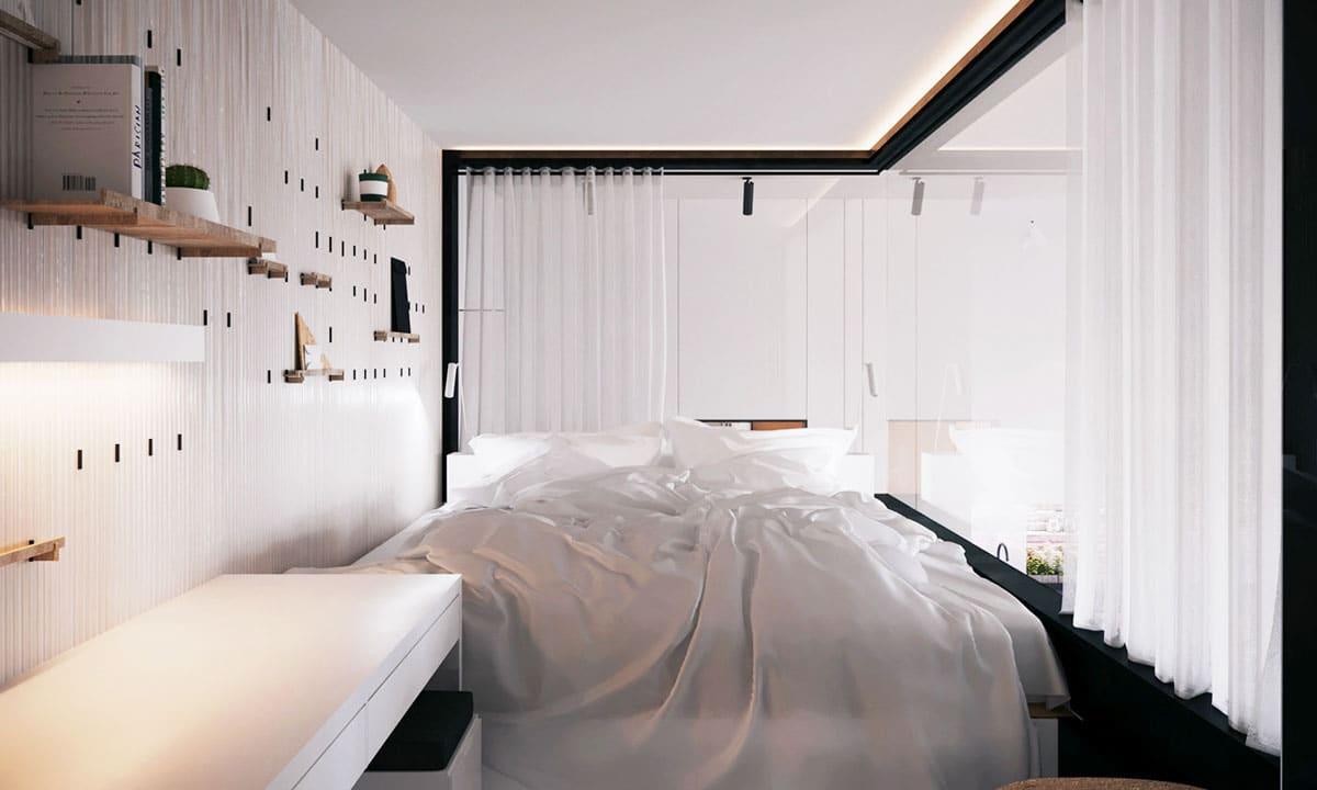 Chambre vitrée avec vue sur le séjour