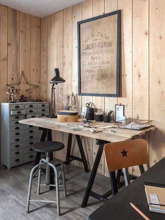 Bureau avec murs en lambris