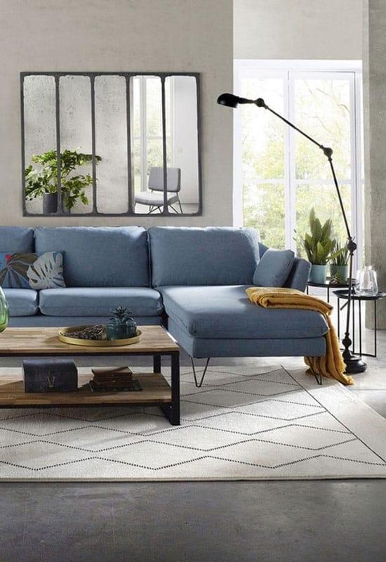 """Tentez la tendance bleue dans votre intérieur de style """"indus"""""""