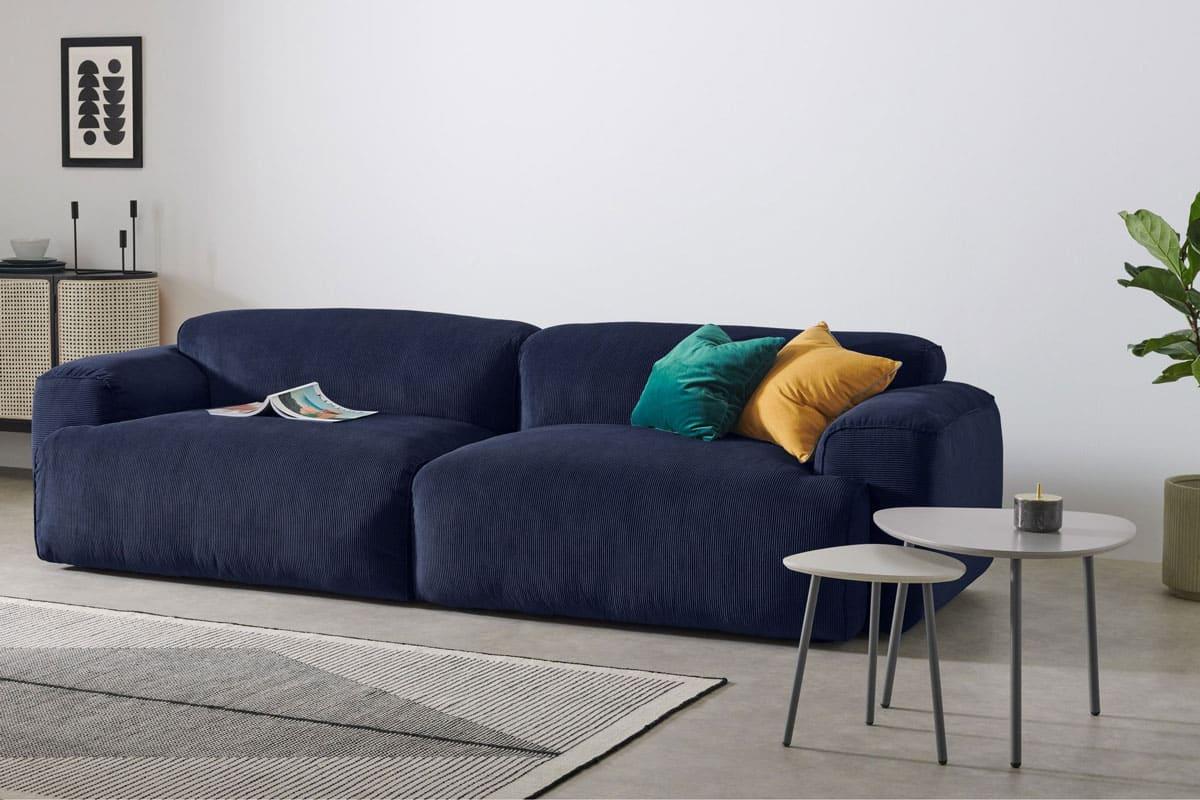 Canapé en velours côtelé bleu marine