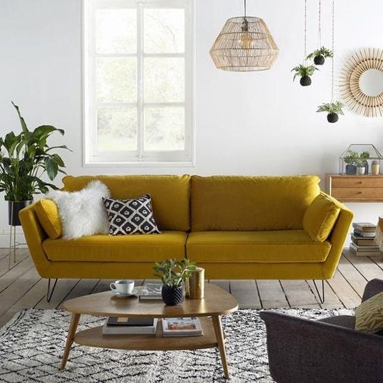 Canapé jaune en velours