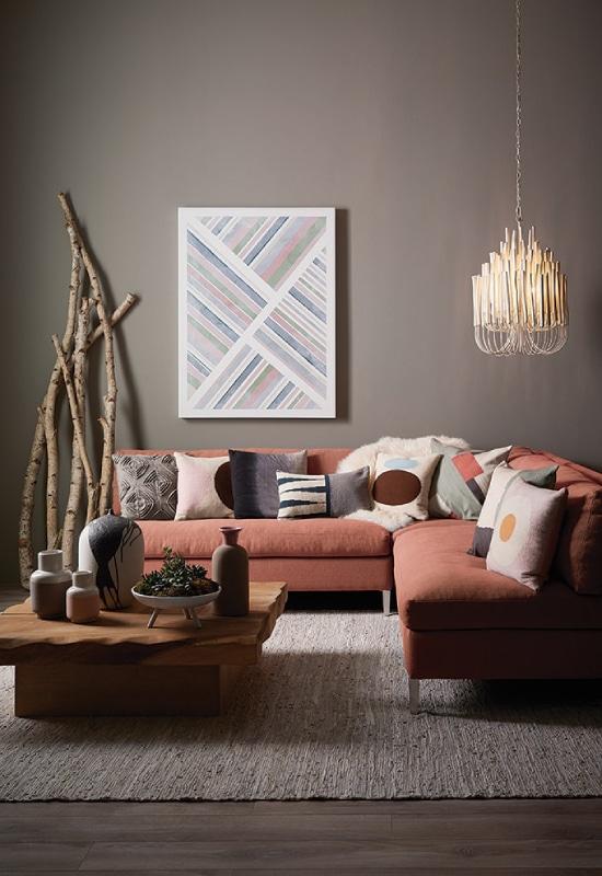 salon gris avec canapé terracotta