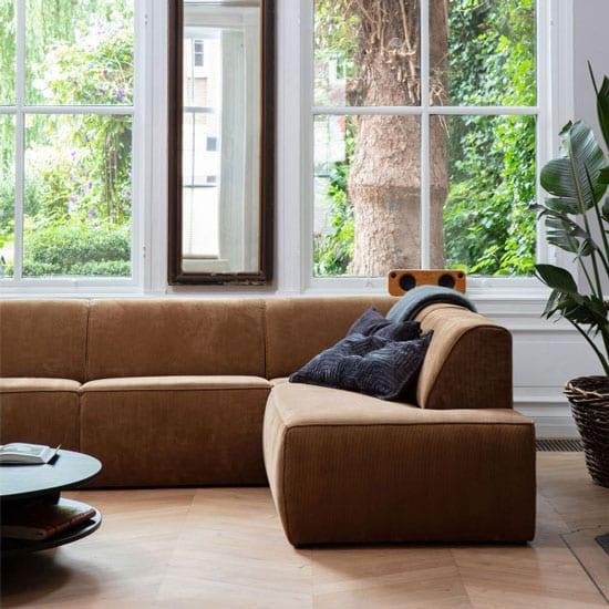Canapé d'angle en velours côtelé
