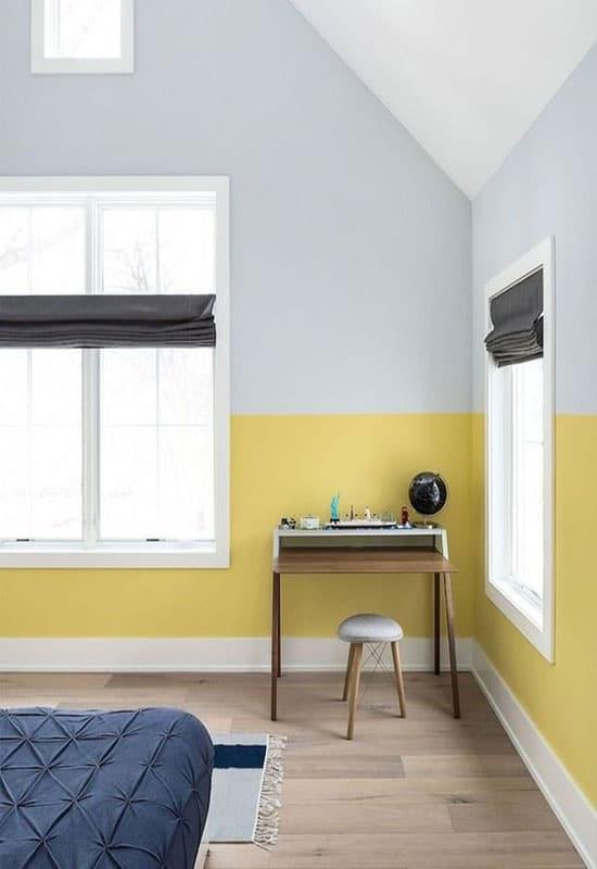 Chambre bleu glacier et jaune