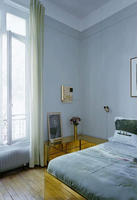 Chambre bleue et dorée