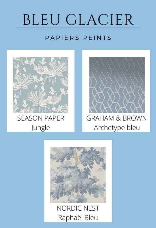 papier peint bleu glacier