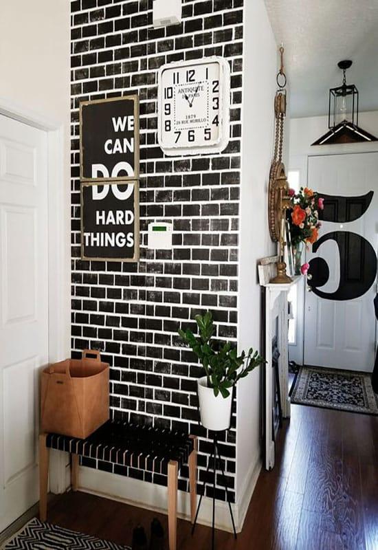 Mur de brique noir et blanc