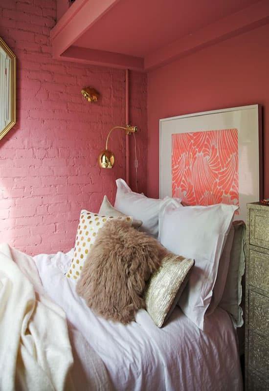 Mur en pierres roses