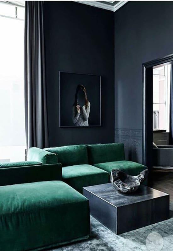 Salon noir et vert