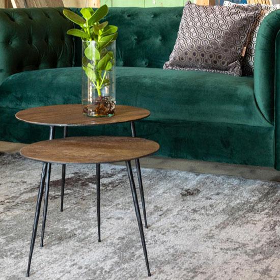 Bout de canapé en métal et bois