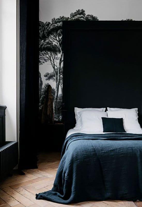 Chambre noire et papier peint panoramique
