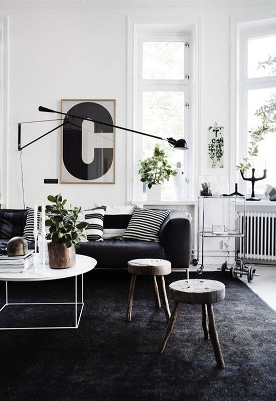Salon noir et blanc esprit scandinave