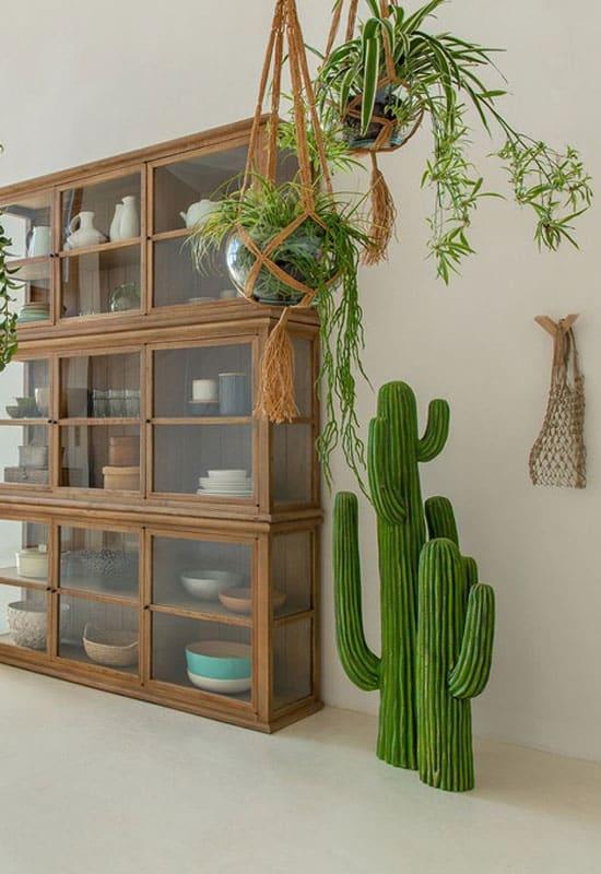 Cactus artificiel dans un séjour