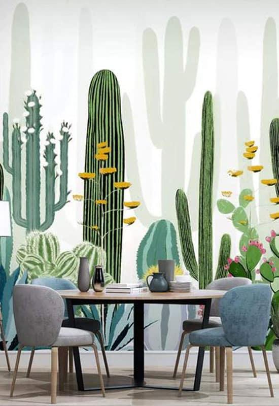 Salle à manger sur le thème cactus