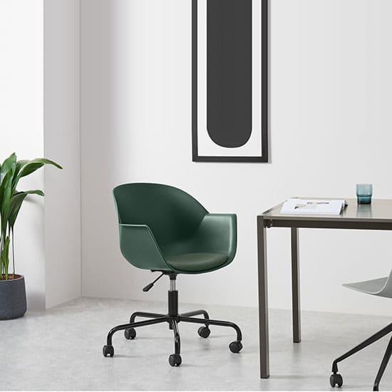 Chaise de bureau à roulettes vert foncé