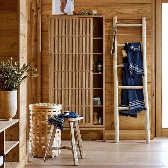 Panier à linge en bambou tressé