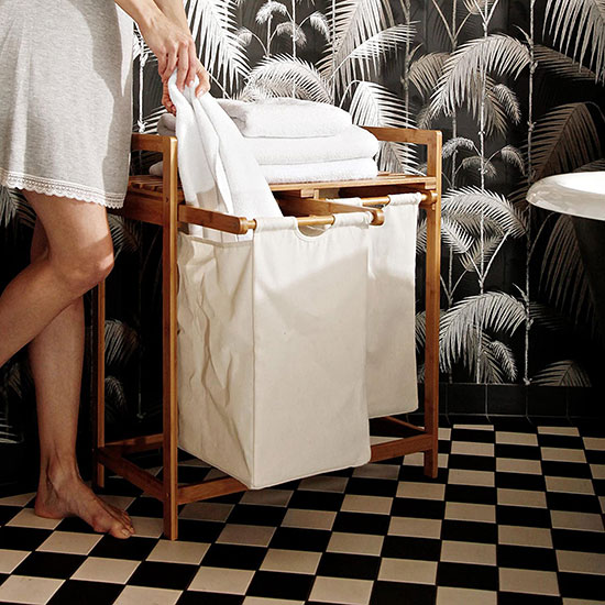 Panier à linge en bambou type meuble