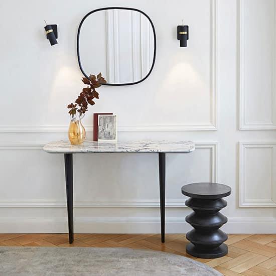 Console avec plateau en marbre et pieds noirs