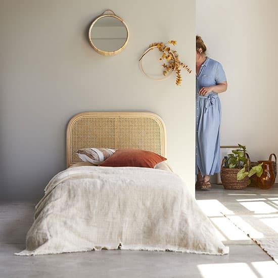 Tête de lit en rotin pour enfant, pour lit 90 cm