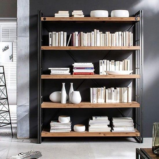 Bibliothèque industrielle métal et bois