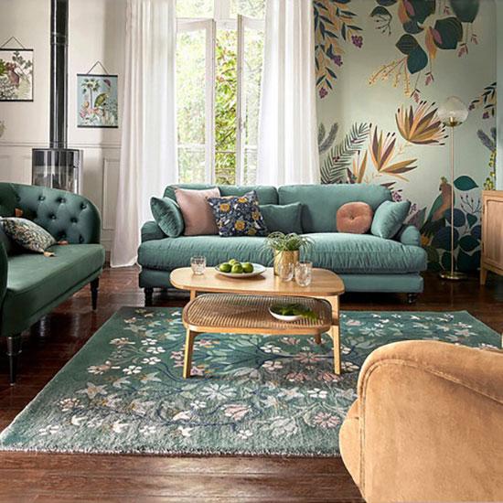 Canapé fixe vert, 3 ou 4 places