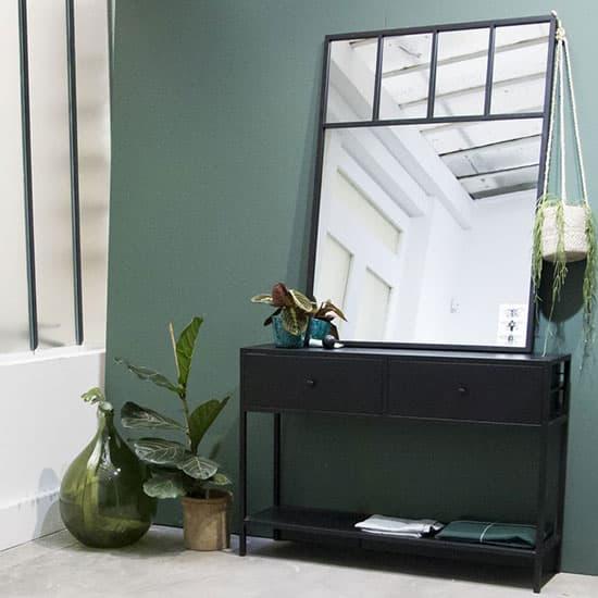 Console d'entrée avec tiroirs, noire