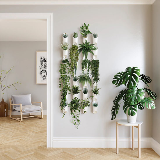 Vases muraux blancs