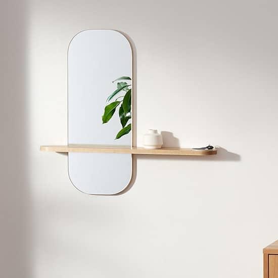 Miroir mural avec étagère