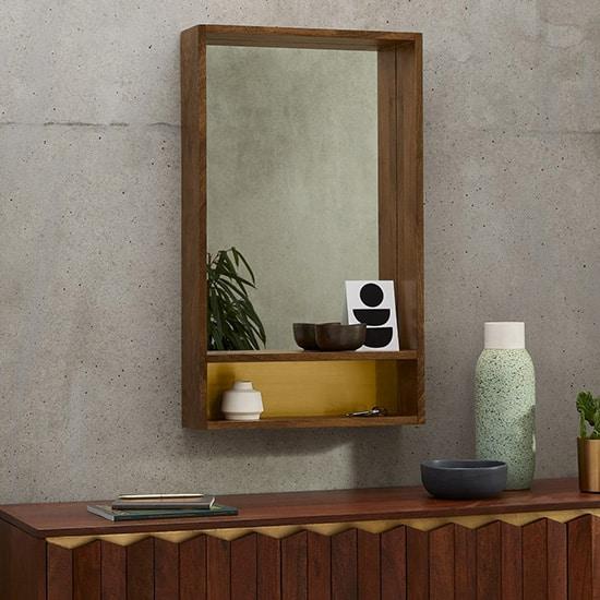 Miroir avec rangements, en manguier et laiton