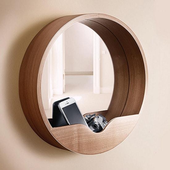 Miroir rond avec niche de rangement