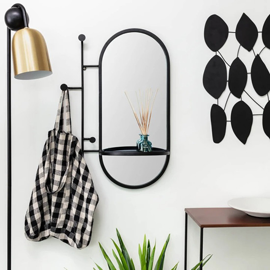 Miroir en métal noir avec rangements