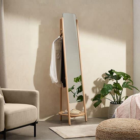 Miroir sur pied en bois