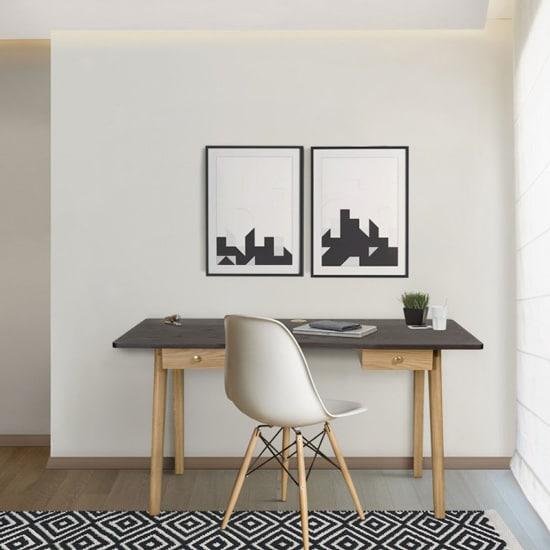 Bureau en bois avec 2 tiroirs