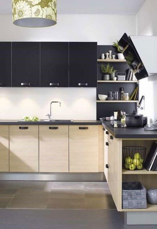 cuisine noire et beige