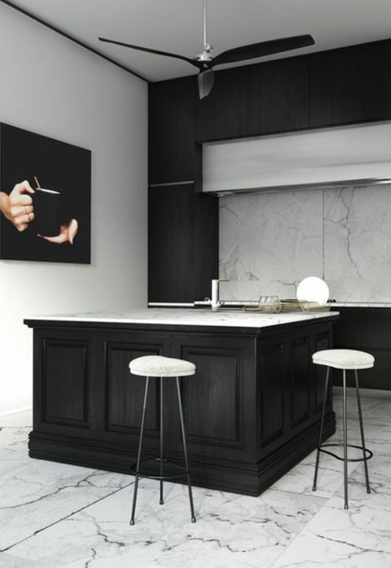 cuisine noire et marbre